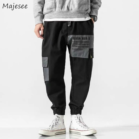 Casual Pants Letter Printed Leisure Cargo Trousers Loose Bundle Patchwork Elastic Waist Mens Korean Style All-match Chic Ulzzang