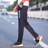 Pants Men 2020 Thin Full Length Plus Size Letter Printed Simple All-match Slim Pockets Sweatpants Mens Students Soft Trouser