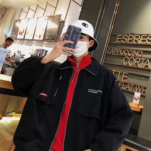Men Jackets Zipper Letter Printed Turn-down Collar Oversize Simple All-match Korean Style Leisure Coat Chic Retro Streetwear New