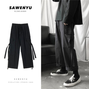 Casual Pants Men Spring Drawstring Ankle Length Multi Pockets Plus Size 3XL Ins Fashion Leisure Mens Cargo Trousers Korean Chic