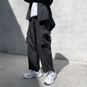 Pants Men Multi-pockets Cargo Pant Ankle-length Leisure Chic Streetwear Hip-hop Harajuku All-match Ulzzang Joggers Korean Style