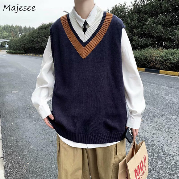 Men Sweater Vest V-Neck Print Simple Design Males Leisure Chic Loose Trendy Student Street Outwear Korean Style Knitted Fashion