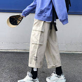 Casual Cargo Pants Men Pockets Leisure Loose Letter Printed Chic Trendy Mens All-match Streetwear Full Length Harajuku Ulzzang