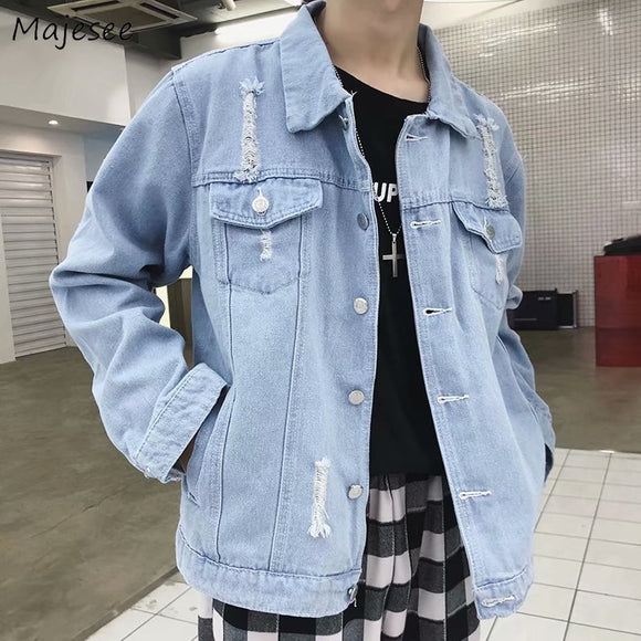 Jacket Men Denim Single Breasted Hot Sale Mens Jackets and Coats All Match Casual Loose Students Korean Style New Trendy Solid