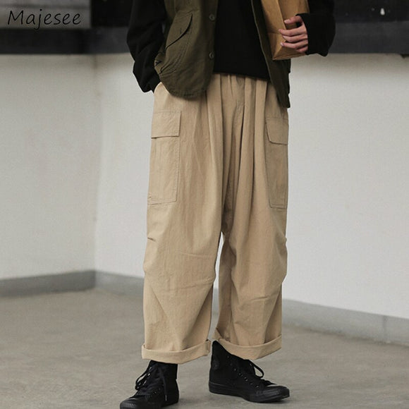 Casual Cargo Pants Loose Large Size 3XL Solid Simple Pockets All-match Chic Trendy Mens Korean Style Retro Leisure Harajuku New