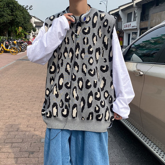 Men Sweater Vest Spring Autumn Male Tops Waistcoats O-neck Knitted Leopard Loose Streetweat Hip-hop BF Ulzzang Chic Casual Daily