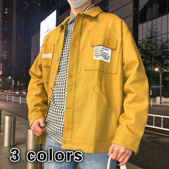 Jackets Men Letter Printed Turn-down Collar Cargo Mens Coat Outwear All-match Street Style Fashionable Students Harajuku Casual