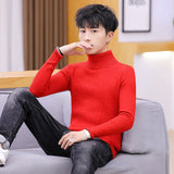 Men Turtleneck Sweaters Solid Simple Thicken Warm Loose Plus Size 3XL Korean Fashion Style Trendy Knitted Students Leisure New