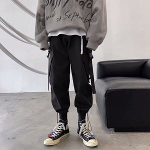 Casual Pants Cargo Ankle-length Leisure Printed Chic Large Size 3XL Loose Adjustable Bundle Pockets Mens Harajuku Korean Style