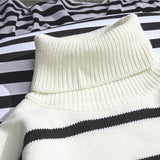 Men Sweaters Striped  Leisure Simple All-match Daily  Sweater Mens Winter Thicker Solid Knitting Warm Black White Basic Clothes