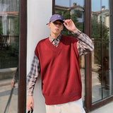 Sweater Vest Men Solid V-neck Leisure Simple Chic Korean Style Harajuku All-match Mens Vests Retro Students Ins Daily Outwear BF