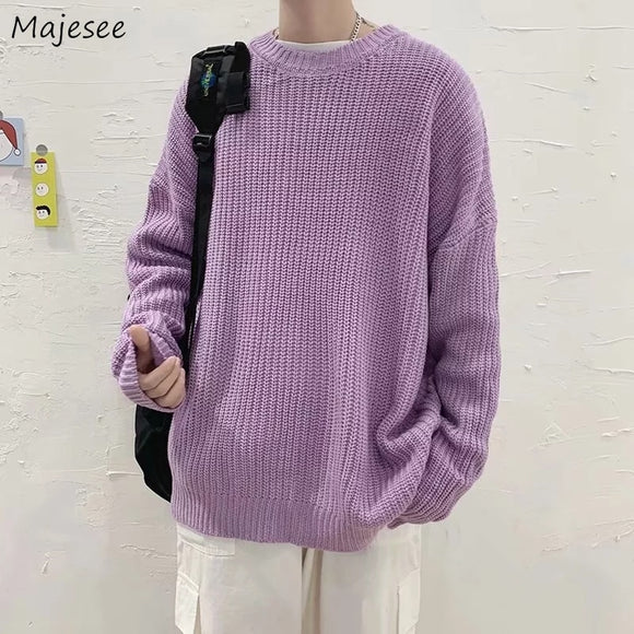 Pullovers Men Solid Loose Casual Knitted Mens Sweaters Simple All-match Colorful Korean Trendy Ulzzang Oversize Street-wear Ins