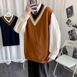 Men Sweater Vest V-neck Knitted Male Oversize 3XL Loose Casual Preppy Korean Fashion Style Ulzzang All-match Students Daily Date