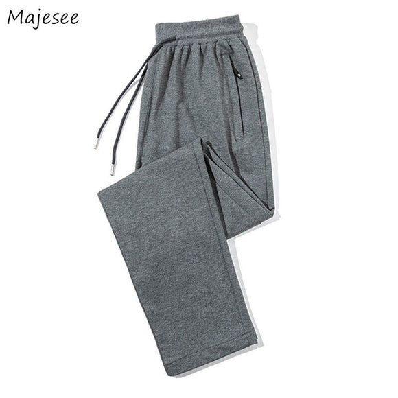 Men Casual Pants Various Color Solid Straight Elastic Waist Fashion Korean Style Simple Ankle-length Chic All-match Breathable