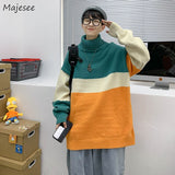 Men Turtleneck Sweaters Pullover Patchwork Loose Harajuku Korean Fashion Trendy Couple All-match Chic Knitted Students Leisure