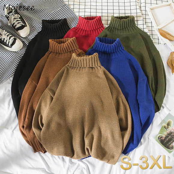 Pullovers Men Turtleneck Sweaters Mens Loose Ins Harajuku Korean Trendy Students Knitted Multi-color Simple All-match Plus-size
