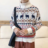 Men Turtleneck Sweaters Deer Print Chrismas Unisex Winter Male Pullover All-match Preppy Casual Korean Trendy Ulzzang Chic Warm
