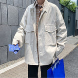 Jackets Men Solid Oversize Stand Collar Simple Chic Harajuku Mens All-match Coat Outwear Japanese Style Ins Cargo Vintage Jacket