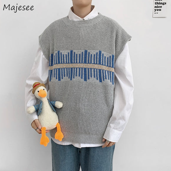 Men Sweater Vest Print Loose Knitted Harajuku Simple Spring Autumn Males Leisure Chic Trendy Outwear Korean Style Fashion New