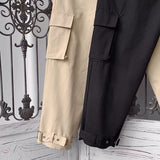 Casual Pants Loose Pockets Elastic Waist Solid Simple Plus Size 3XL Ins Adjustable Mens Korean Style Harajuku All-match Ulzzang