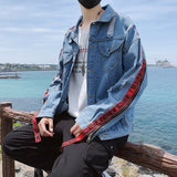 Men Jackets Turn-down Collar Holes Chic Printed Leisure Loose 3XL All-match High Street Teens Mens Harajuku Pockets Ulzzang New