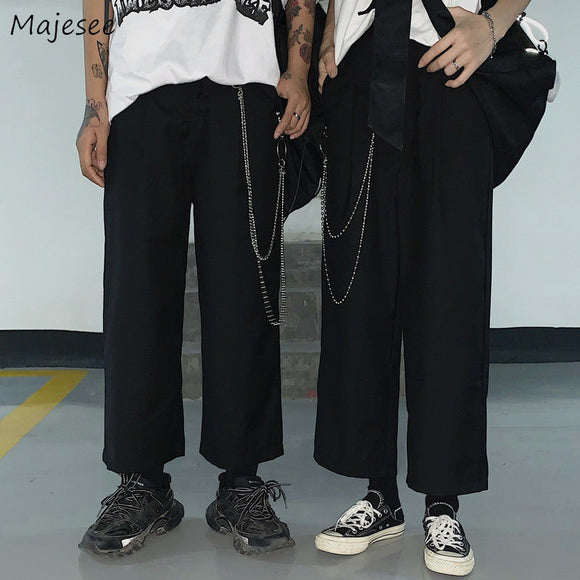 Men Casual Pants Solid Simple Large Size 3XL Loose All-match Harajuku Mens Korean Style Teens Chic Streetwear High Quality New