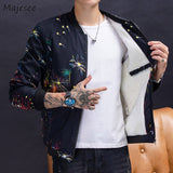 Jacket Men Big Size Black Coat Plus Velvet Thicker Winter Clothes Printing Mens Jackets and Coats Casual Slim Fit Cold-proof