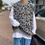 Men Sweater Vest O-Neck Trendy Leopard Cool Street Outwear Males Leisure Chic Loose Student Korean Style Personal Soft Fashion