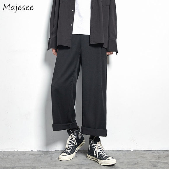 Casual Pants Solid Simple Wide Leg Trousers Mens Korean Style Loose All-match Harajuku Full-length Chic Trendy Streetwear Retro