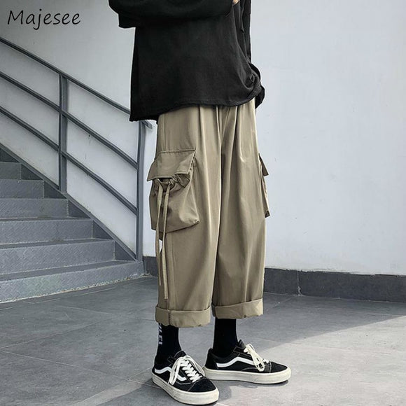 Men Casual Pants Solid Elastic Waist Ankle-length Black Army Green Pockets Fashion Simple Chic Loose Korean Style All-match Ins