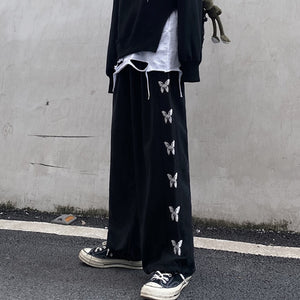 Pants Men Butterfly Printed Chic Elastic Waist Leisure All-match Ins Harajuku Streetwear High Street Hip-hop Baggy Harajuku New