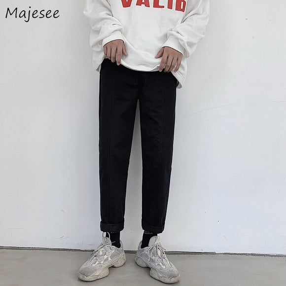 Pants Men Sweatpants Korean Style High Fashion Streetwear Mens Ankle-length Ulzzang Males Solid Simple All Match Trousers Chic