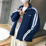 Jacket Men Loose Hip Hop Letter Long Sleeve Zipper Plus Size Mens Jackets and Coats Harajuku Students Korean Style BF Clothes