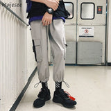 Casual Pants Loose Elastic Waist Pockets Bundle Cargo Trouser Adjustable Solid All-amtch Large Size 3XL Retro Chic Ins Trendy