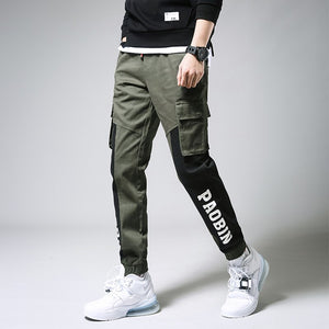 Pants Men Letter Printed Leisure Pocket Daily Ankle-length Simple All-match Korean Style Pant Mens Drawstring Harem Trousers