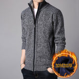 Men Cardigan Winter Fleece Male Sweaters Zipper High Quality Slim Knitted 3XL Outwear Daily Smart Casual Korean Trendy Chic Cozy