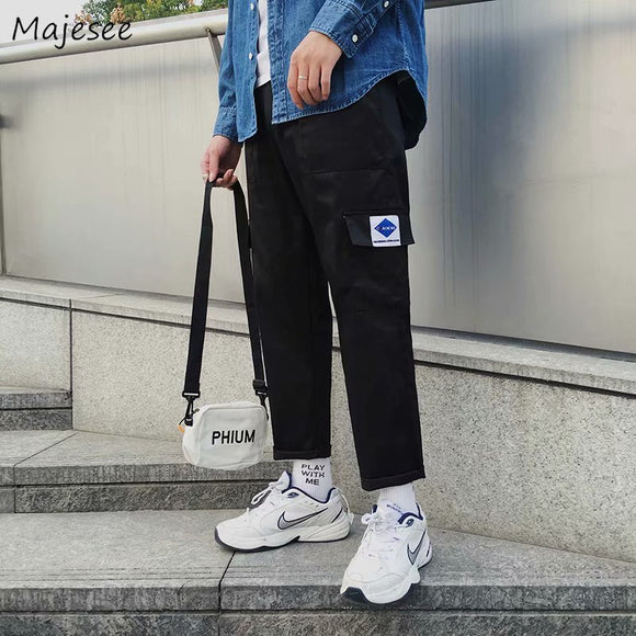 Cargo Pants Men Ankle-length Drawstring Plus Size Mens Korean Fashion Trousers Harajuku Casual Loose High Quality All Match Soft