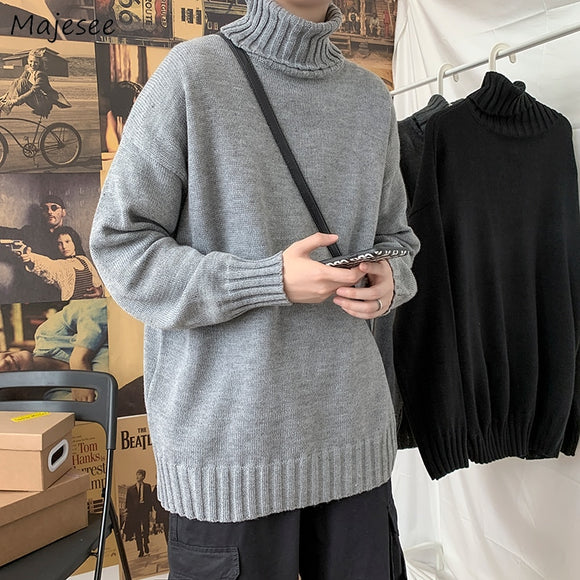 Men Pullovers Sweater Solid Turtleneck Trendy Males Leisure Warm Soft Chic All-match Street Wear Knitted Korean Style Fashion