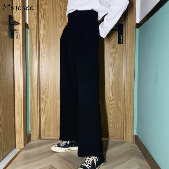 Men Casual Pants Solid Simple Large Size 3XL Button Fly Chic Mens Korean Style Straight Trousers All-match Ankle-length Loose