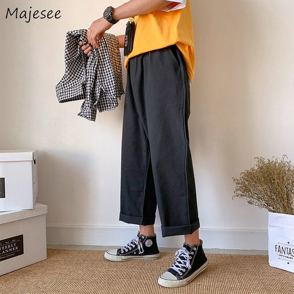 Trousers Men Loose Drawstring Solid Simple All Match Mens Pants Fashion Males High Quality Students Harajuku Plus Size  Casual