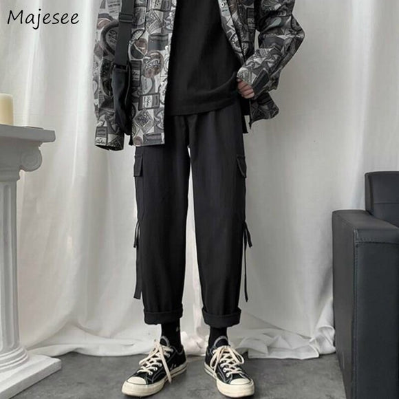 Men Casual Pants Pockets Large Size 3XL Cargo Simple Ankle-length Retro Loose Harajuku Mens Korean Style Chic Streetwear Ulzzang