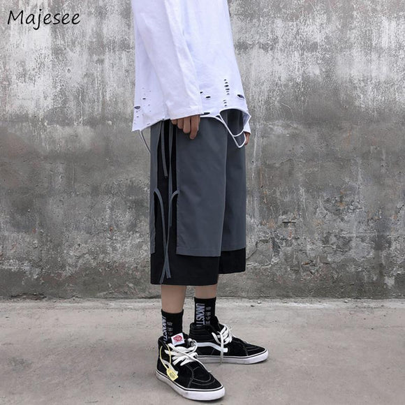 Casual Pants Men Calf Length Patchwork Drawstring Plus Size 3XL Ins Chic Leisure Loose Hip-hop Streetwear Tees Vintage Ripped BF