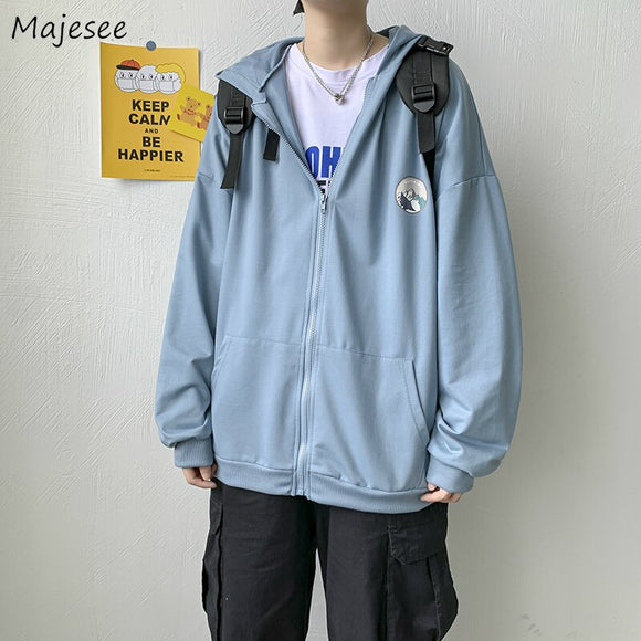 Men Jackets Printed Zipper Baggy Couples Casual Korean Style Ulzzang All-match Simple Chic Daily Ins Stylish Male Teens Outwear