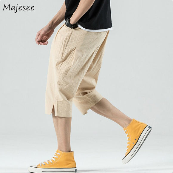 Men Casual Pants Summer Breathable Solid Calf-length Loose Large Size 4XL Mens Korean Style Chic Trendy Simple All-match Ulzzang