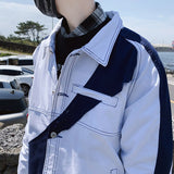 Men Jackets Patchwork Turn-down Collar Loose Plus Size 3XL Chic Trendy Mens Leisure All-match Harajuku Daily Outwear Ulzzang New
