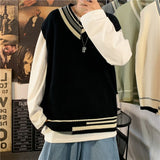 Men Sweater Vest New Arrival Mens Shrug Outwear Patchwork Harajuku All-match Casual Preppy Daily Korean Trendy Ulzzang Knit Cozy