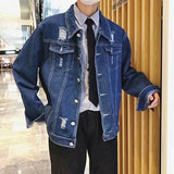 Plus Size Men Jacket Denim Single Breasted Leisure Loose Black Japanese Streetwear Mens Jackets and Coats Harajuku Clothes Chic
