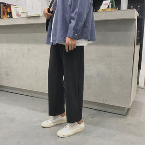 Pants Men Straight Street Fashion Casual Loose Drawstring Mens High Waist Trousers Harajuku Sweatpants Streetwear All Match Chic