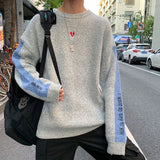 Men Sweaters Pullover Letter Printed O-neck Leisure Plus Size 2XL New Mens Daily Outwear Korean Style All-match Harajuku Chic