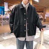 Men Jackets Solid Big Pockets Loose Students Japanese Style All-match Trendy Ulzzang Retro Streetwear Mens Outwear Spring Chic